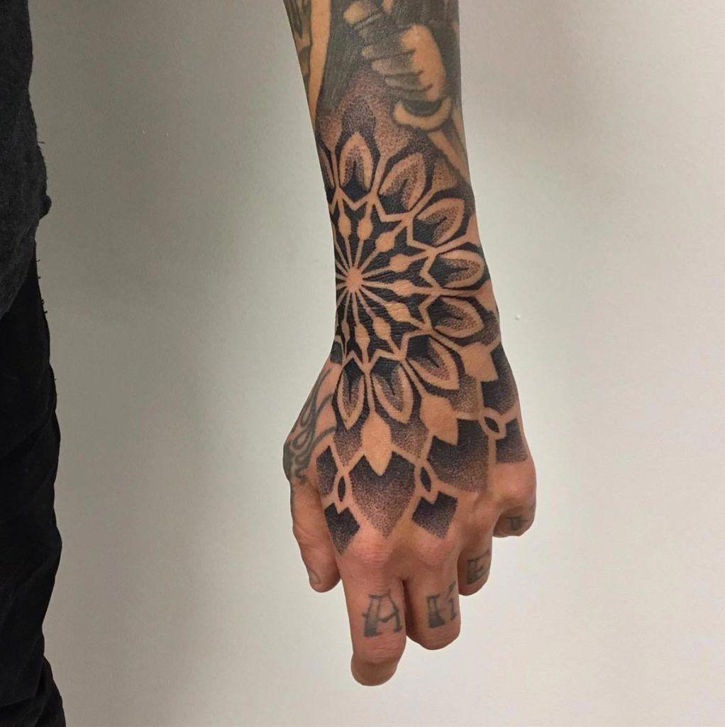 By Krzysztof Krajewski Hand Tattoos For Guys Mandala Hand Tattoos Tattoos For Guys