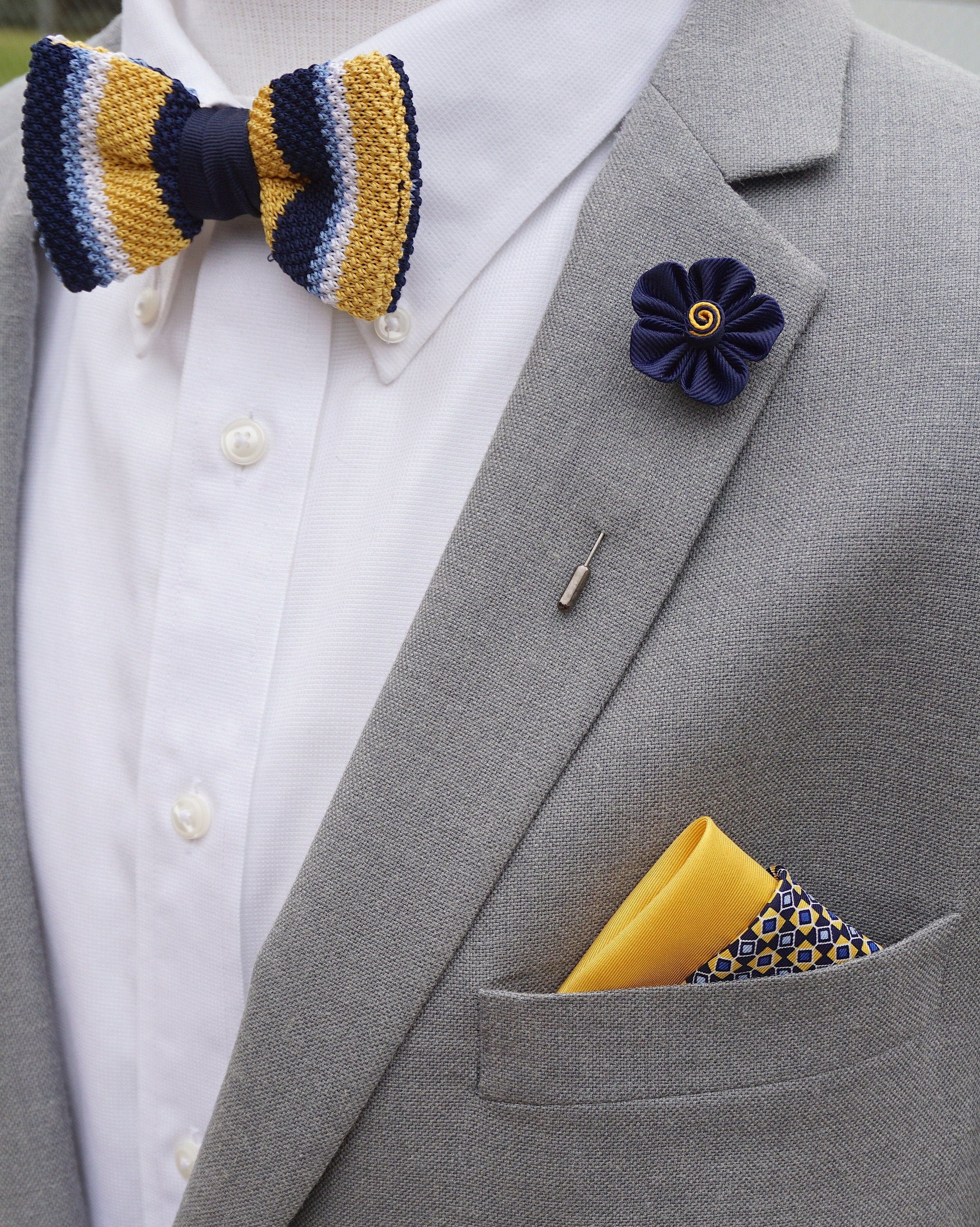 Handmade Flower Lapel Paired with Daniel Cremieux Bowtie & Multi-Patterned Pocket Square Set