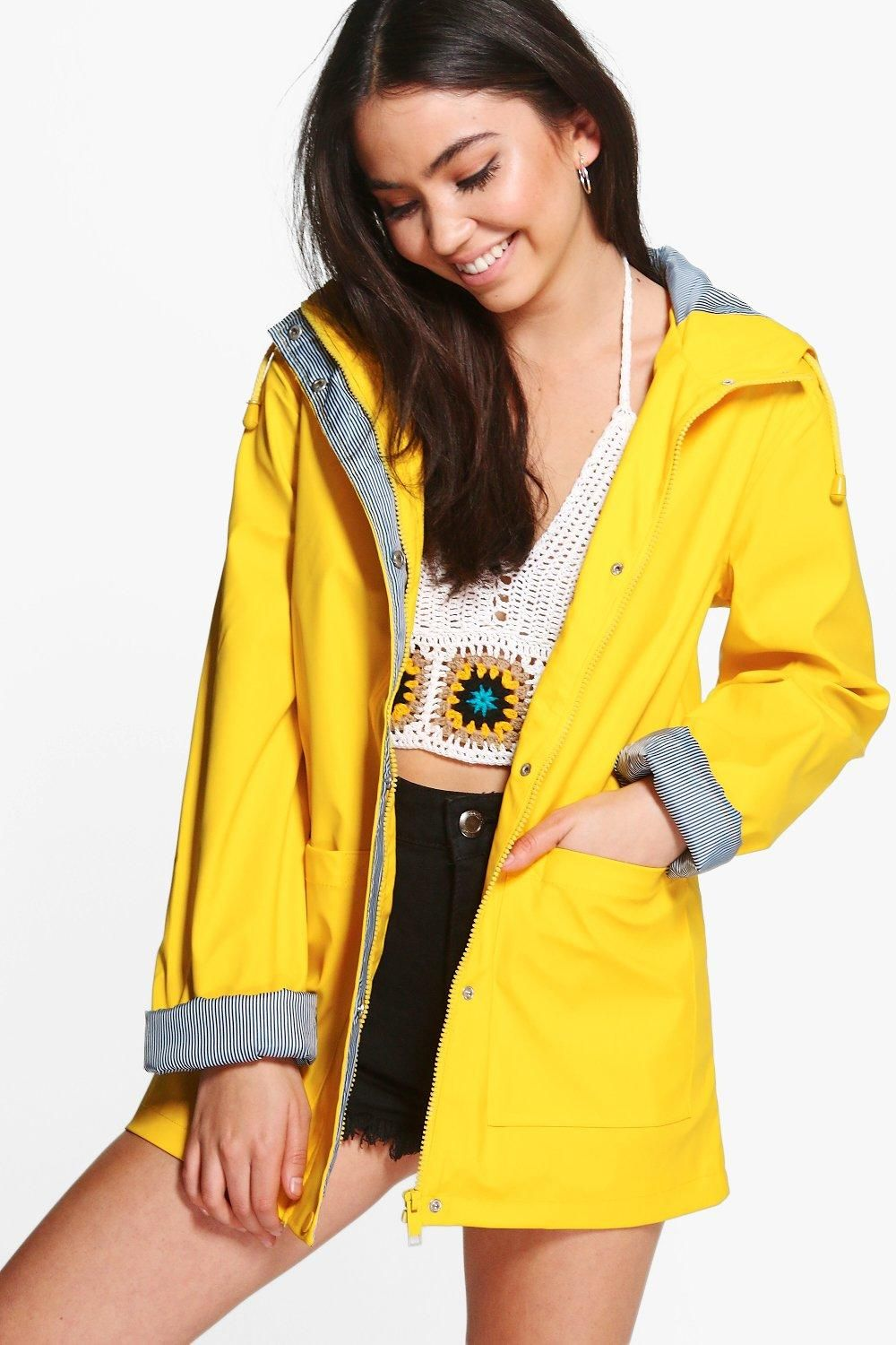Rubberised Rain Mac | Boohoo | Fashion Haute Couture in