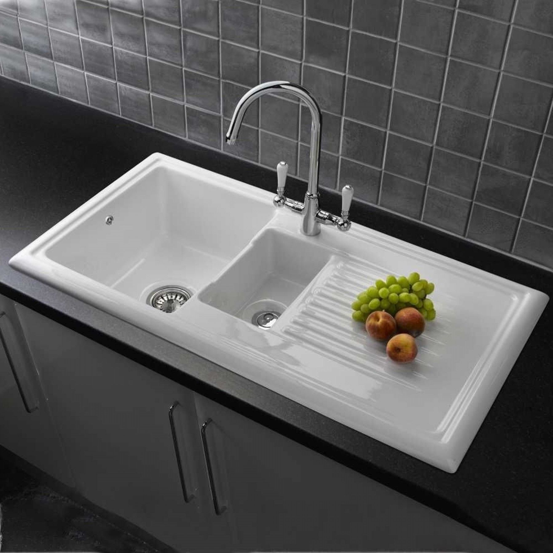 Reginox RL301CW 1.5 Bowl Reversible White Ceramic Kitchen Sink U0026 Waste Kit  #basintapssale #bathtapssale