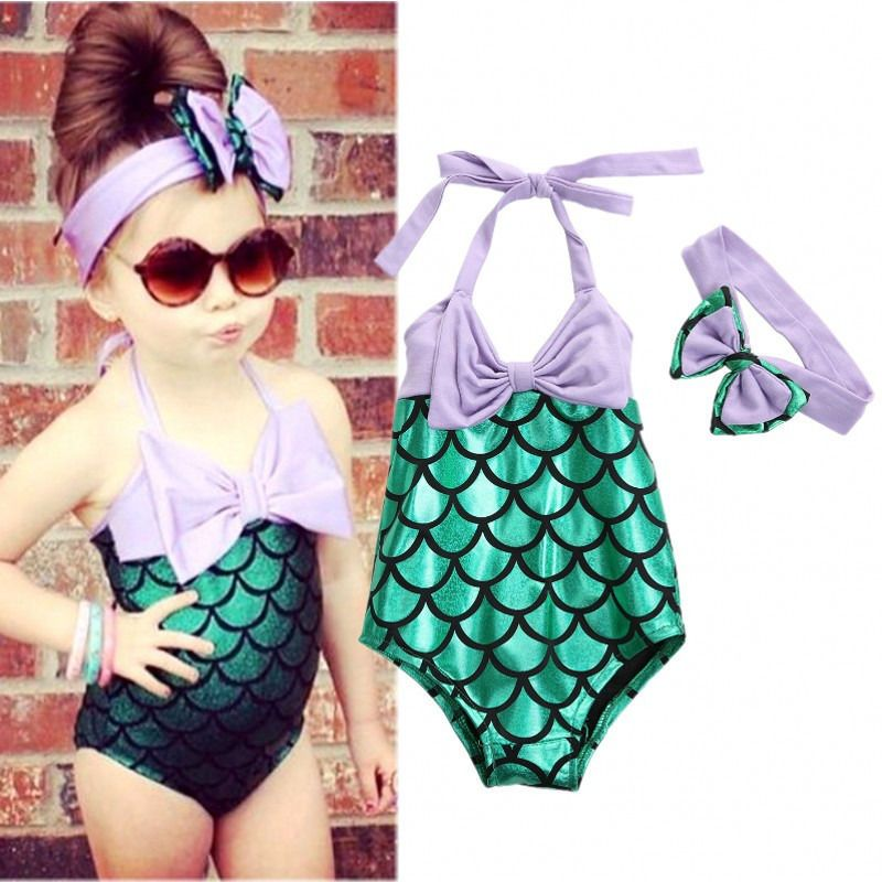 Kids Baby Girl Mermaid Fish Scale Print Costume Bikini Headband Set Bathing Suit