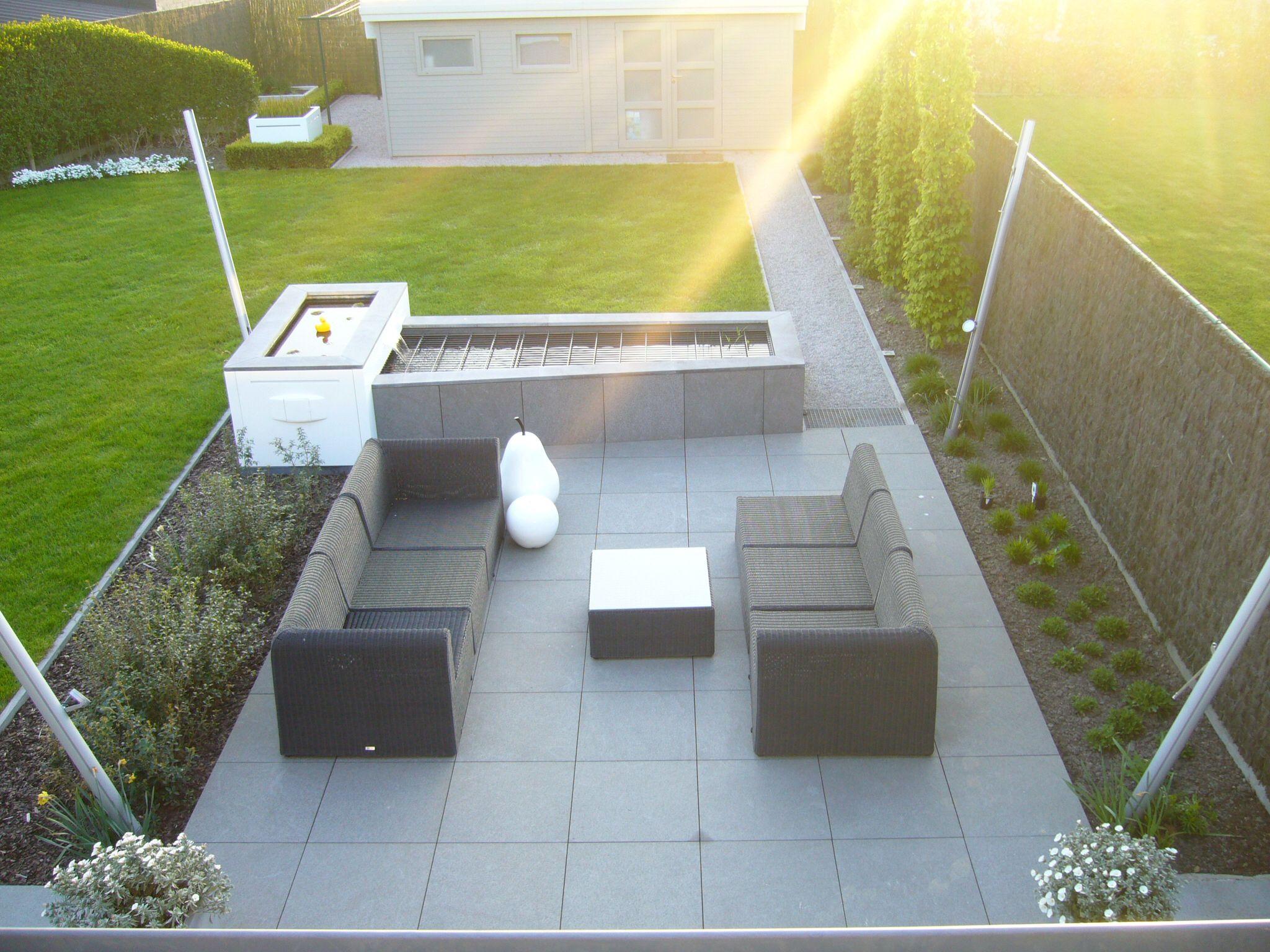 Moderne tuin strakke vijver verhoogd lounge terras design polyester wit waterval lounge - Witte design lounge ...