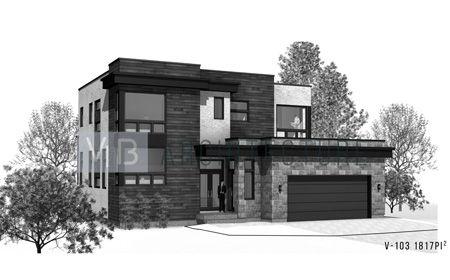 Plan d\u0027architecture contemporain pour maison neuve cottage V-103