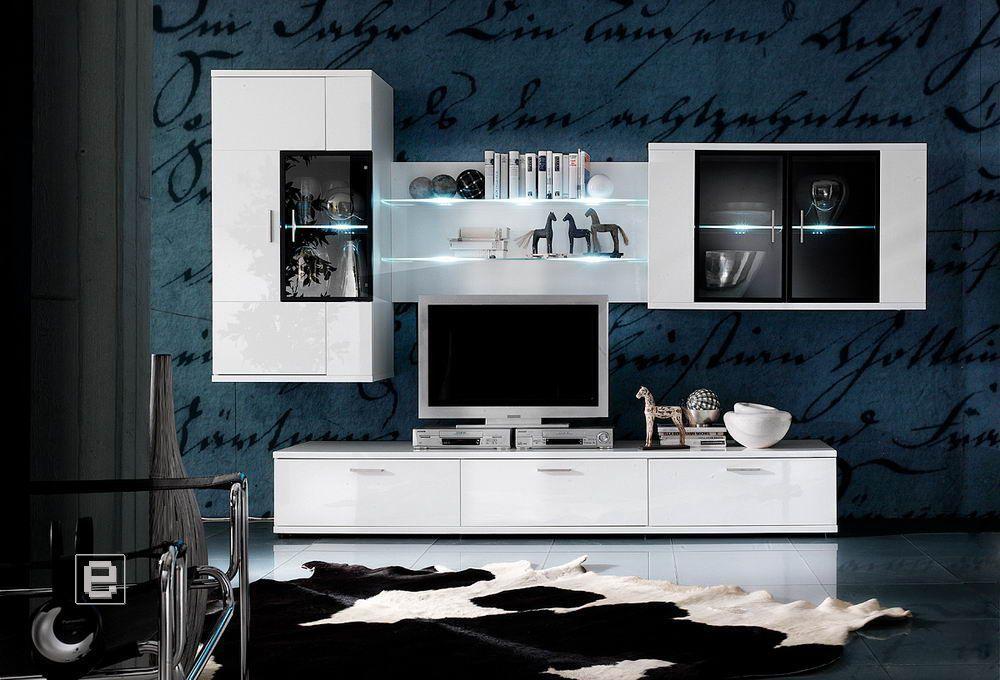 Wohnwand »OXYD« in Hochglanz weiss 4-teilig Jetzt bestellen unter - wohnzimmer vitrine weis hochglanz
