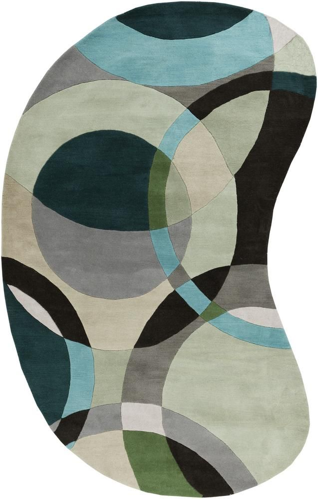 cool idea of a kidney shaped rug for in the upper living room tying all the colors together ... hmmm