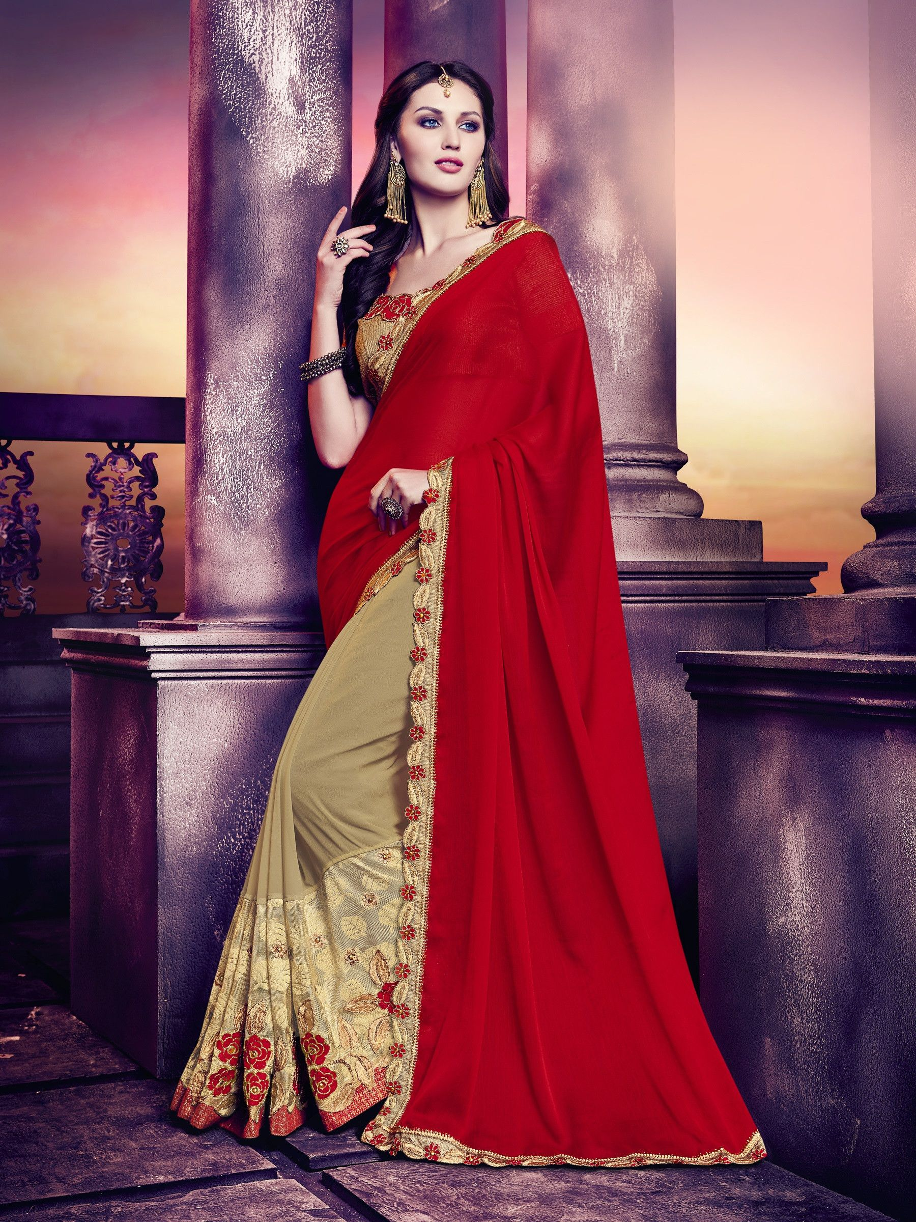 Gerogette Red And Beige Floral Saree With Gold Raw Silk Blouse Saree Designs Party Wear Sarees Online Party Wear Sarees