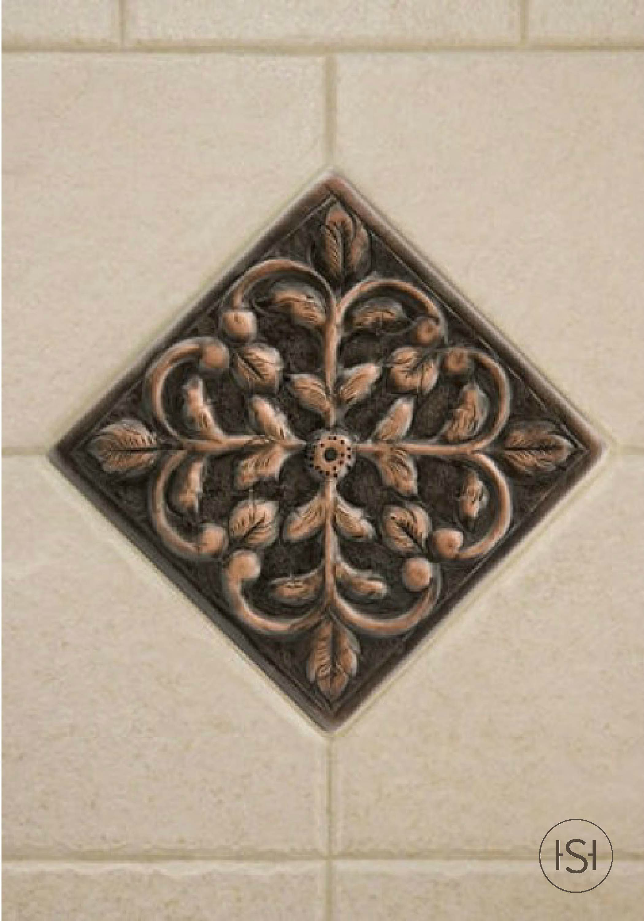 Solid Copper Wall Tile With Dogwood Flower Design