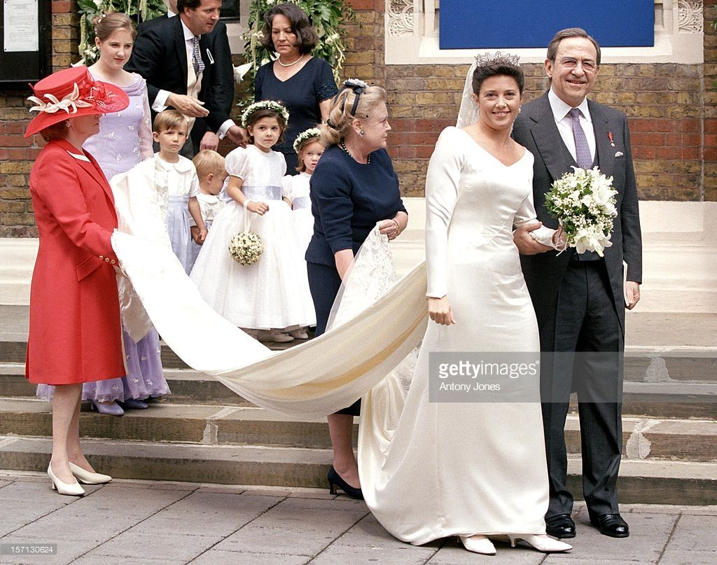 King Constantine Of Greece Attends The Wedding Of Princess Alexia Of Royal Wedding Gowns Wedding Royal Marriage [ 807 x 1024 Pixel ]