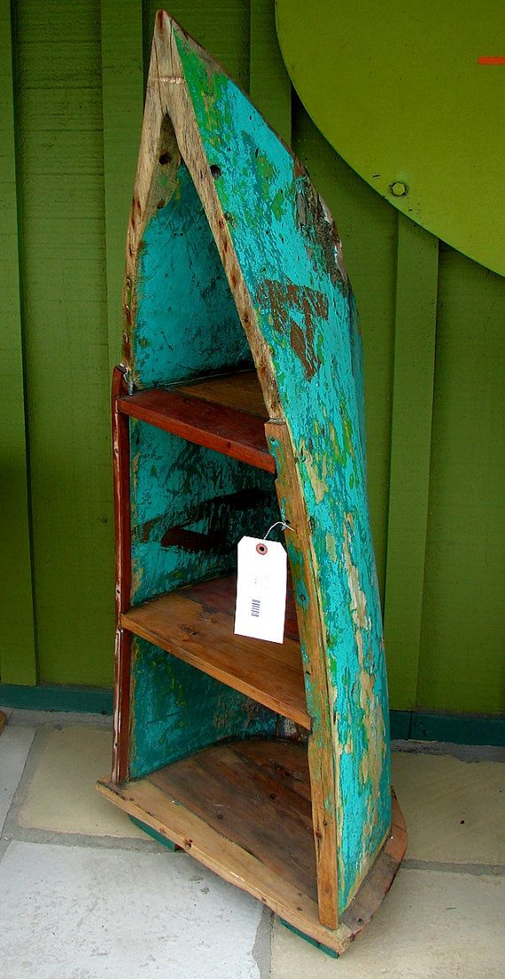 Bali Reclaimed Teak Boat Bookshelf Bookcase Shelves By CURIOSITYNC