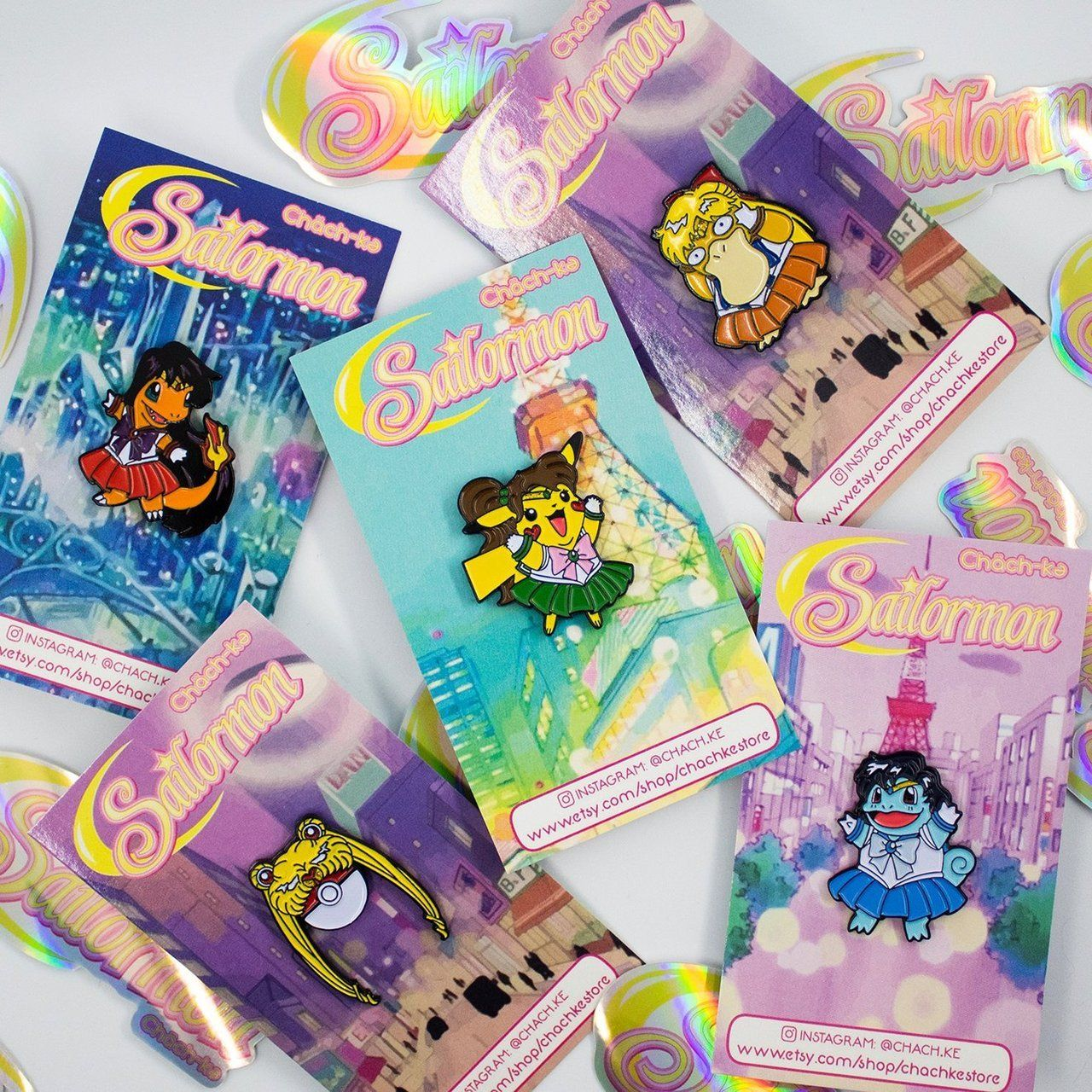 Sailor Moon Pokemon Pins made by Chachke -
