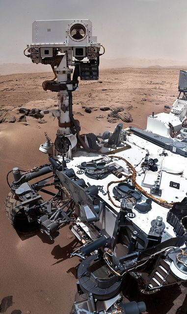 Curiosity self-portrait--a mosaic of images taken by the rover's remote hand-lens imager on Oct. 31, 2012.