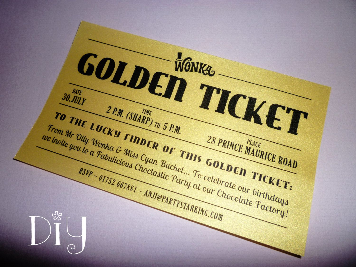 Golden Ticket invitations printable Willy Wonka invitations Willy ...