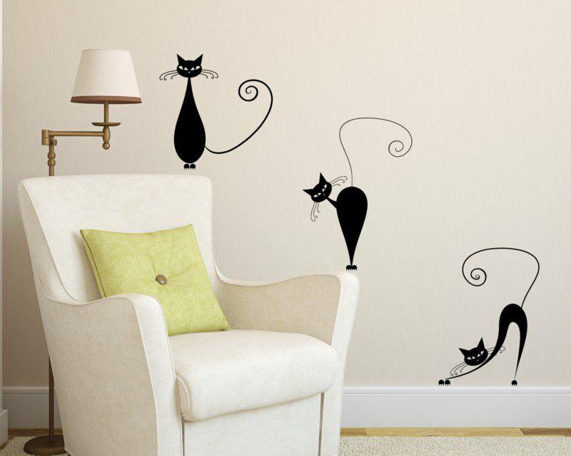 Lustige Schwarze Katzen Als Wandtattoo Wohnzimmer
