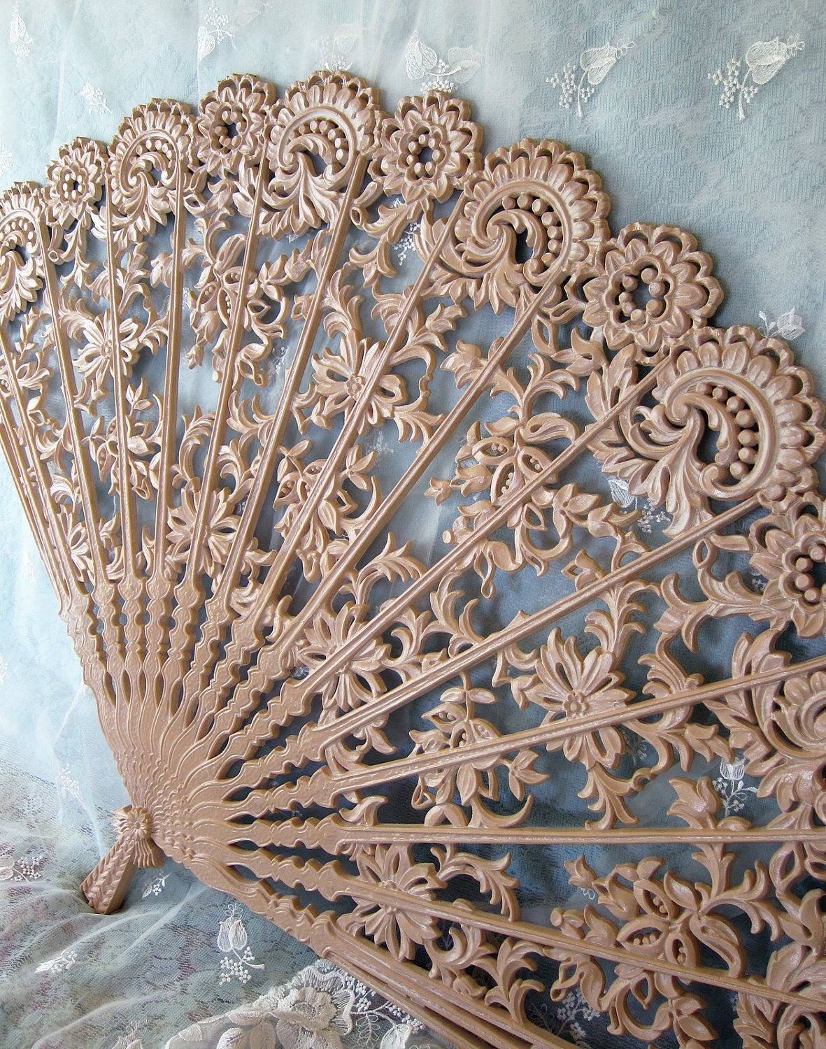 Vintage Burwood Wall Fan Pink Ornate Decor Hanging 35 00 Via Etsy