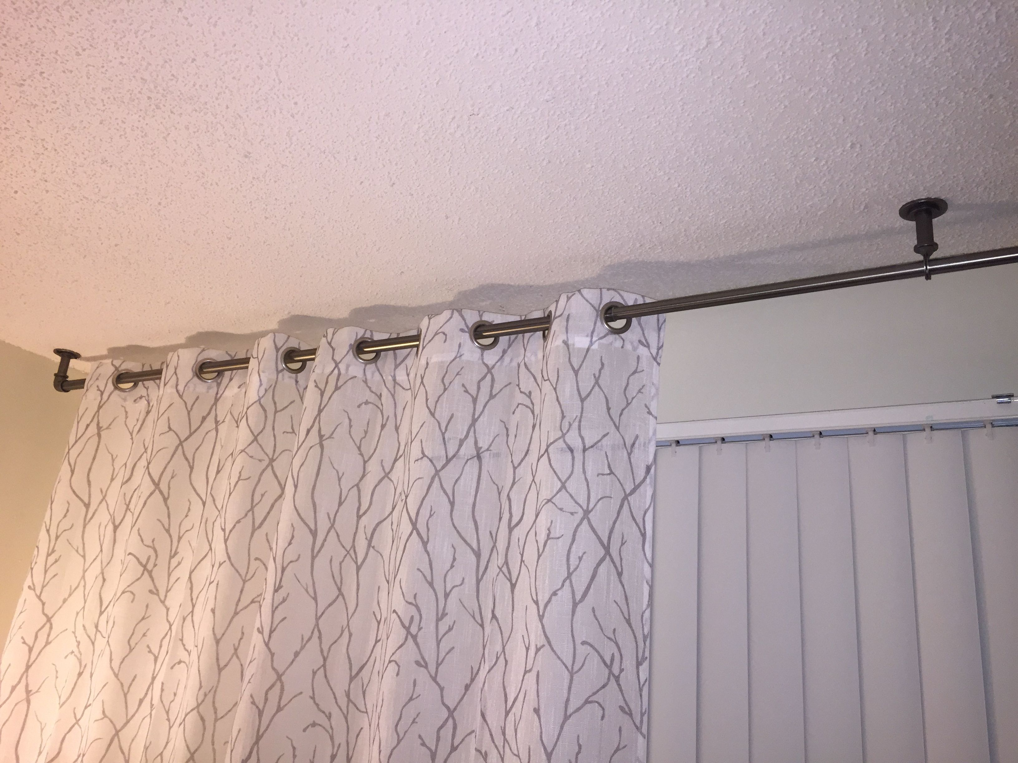 Need Drapes To Hang Over Vertical Blinds Mount Rod To Ceiling