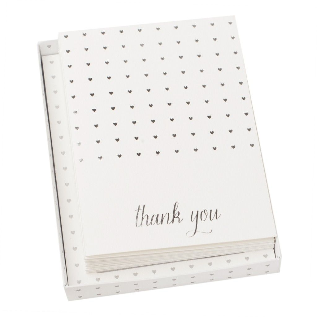 Put pen to paper and send thoughtful Thank You notes to guests with these stylish Thank You Cards. On beautiful textured paper with silver foil touches, they'll love the effort you've gone to. #happilyeverafter #wedding