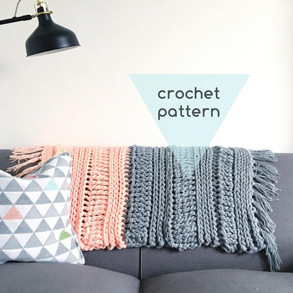 Boho Colour Block Crochet Blanket Pattern Super Chunky Instant Pdf