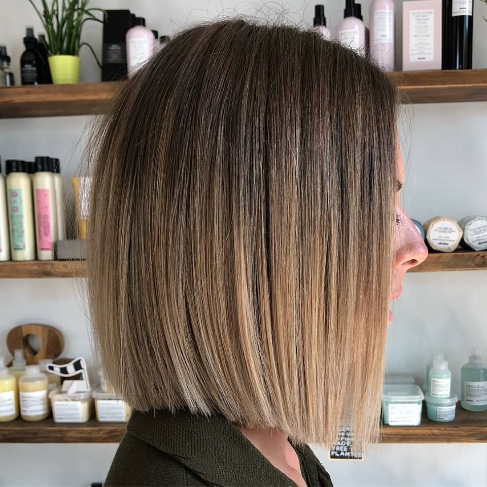Blunt bob with balayage flamboyage dip dye ombre brown to blonde by