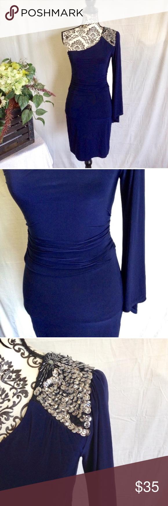 B darlin one shoulder bell sleeve dress sleeved dress shoulder