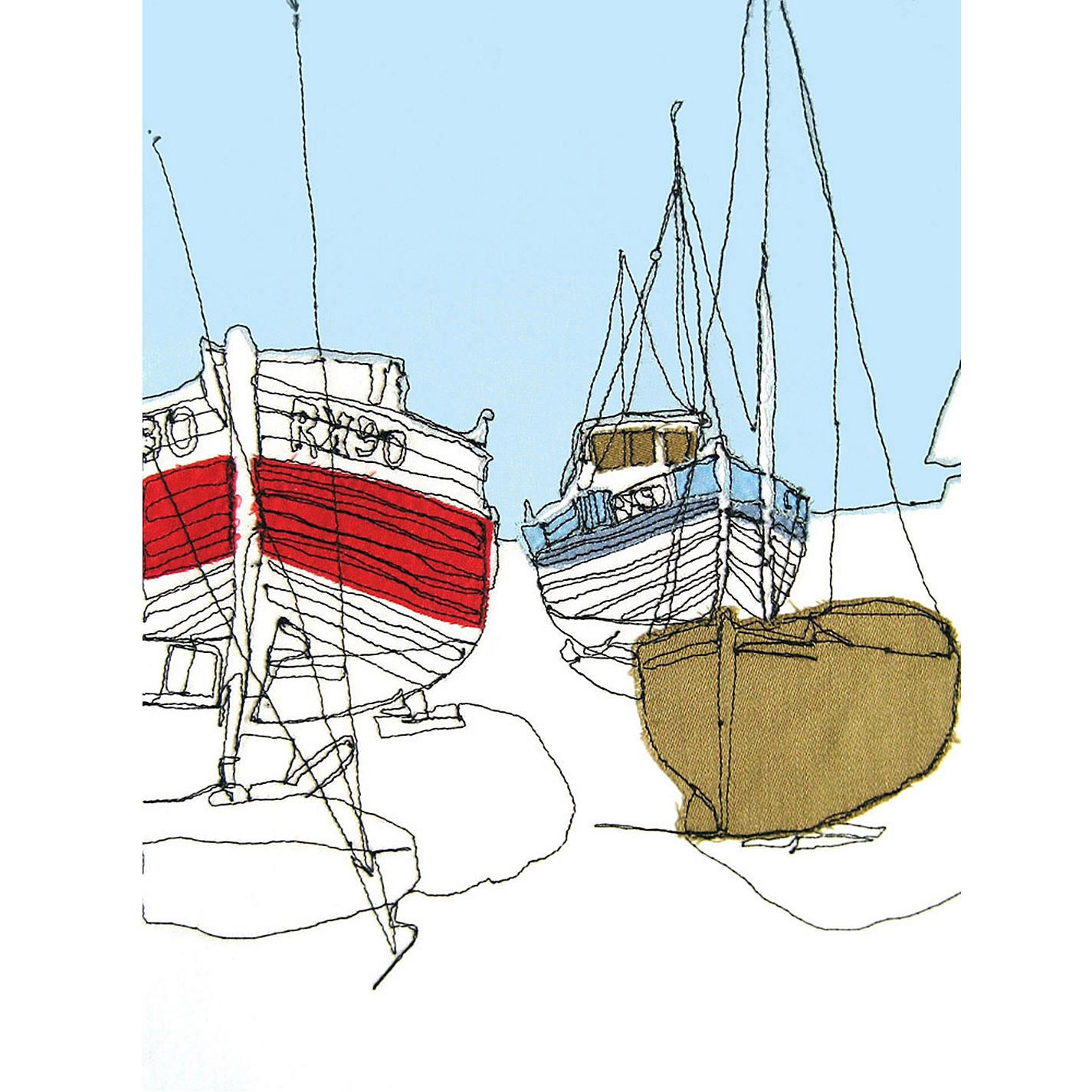 Gillian Bates Boats On The Shore Stretched Canvas In