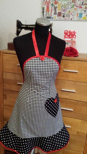 """""""Retro for Valentine's Day"""" baking and cooking apron by …"""