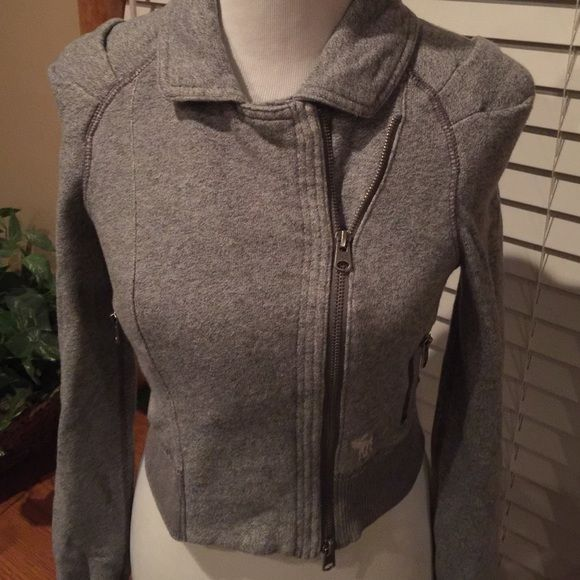 ABERCROMBIE & FITCH  LIGHT GRAY JACKET EXCELLENT CONDITION. Can be worn two ways. Super cute paired with a cami 60% cotton 40% polyester. No holes or stains. Has two zipper pockets. Super soft an warm.  Abercrombie & Fitch Tops