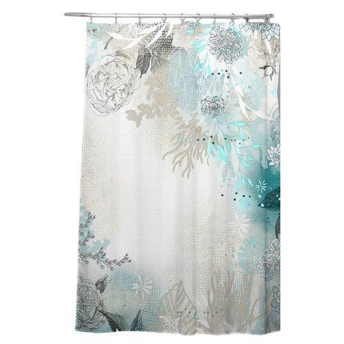 Holley Seafoam Single Shower Curtain Curtains Bathroom Red