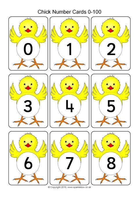 chick number cards 0 100 sb12491 sparklebox numbers kindergarten numbers. Black Bedroom Furniture Sets. Home Design Ideas