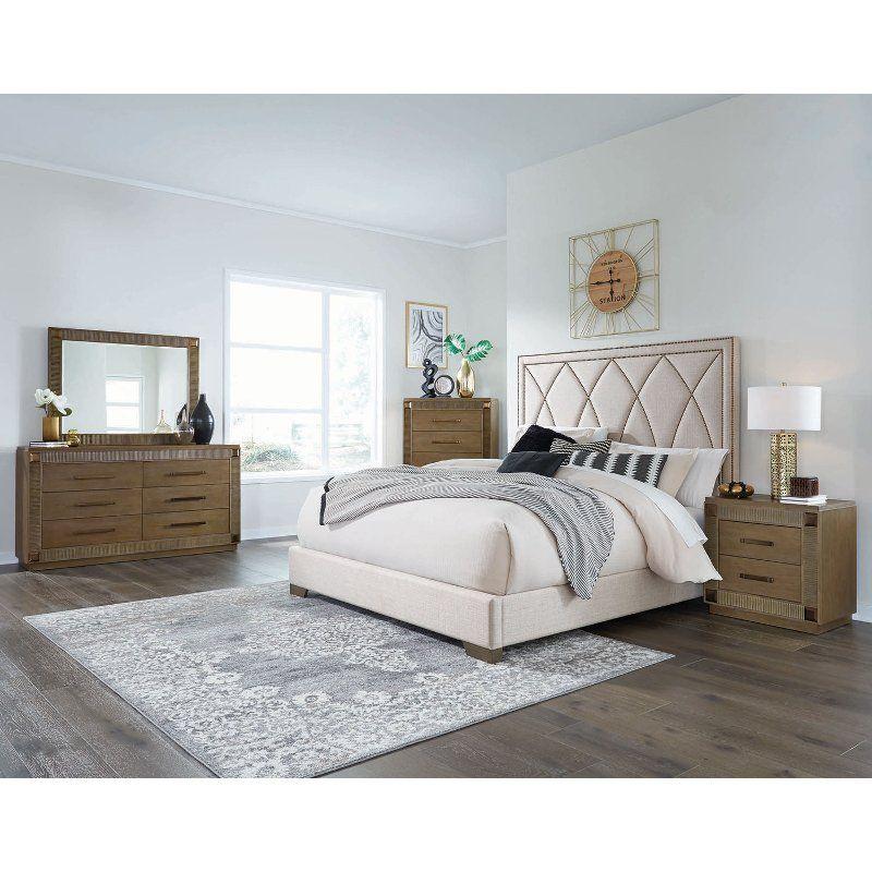 Contemporary Brown 4 Piece Queen Bedroom Set Park Avenue King