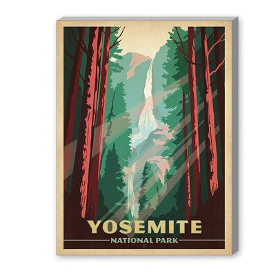 East Urban Home Yosemite National Park Vintage Advertisement On Gallery Wrapped Canvas Size 10 H American Travel Posters National Park Posters Travel Posters