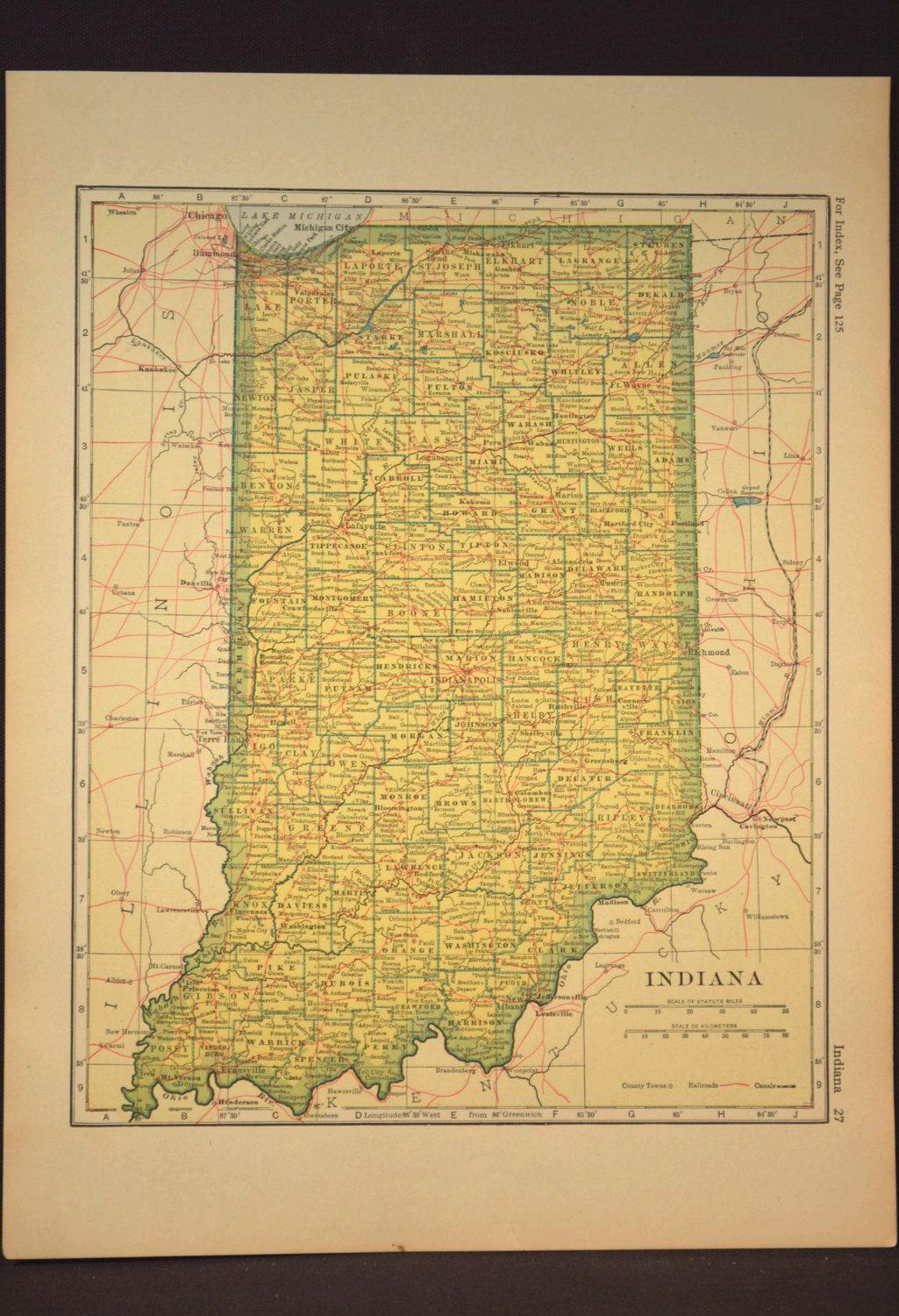 Indiana Map Indiana Antique Railroad Original 1920s Yellow | Map ...