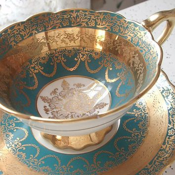 Antique Royal Stafford gold filigree tea cup and saucer, blue and gold tea cup set, English tea cup, bone china teacup, antique teacups #teapotset