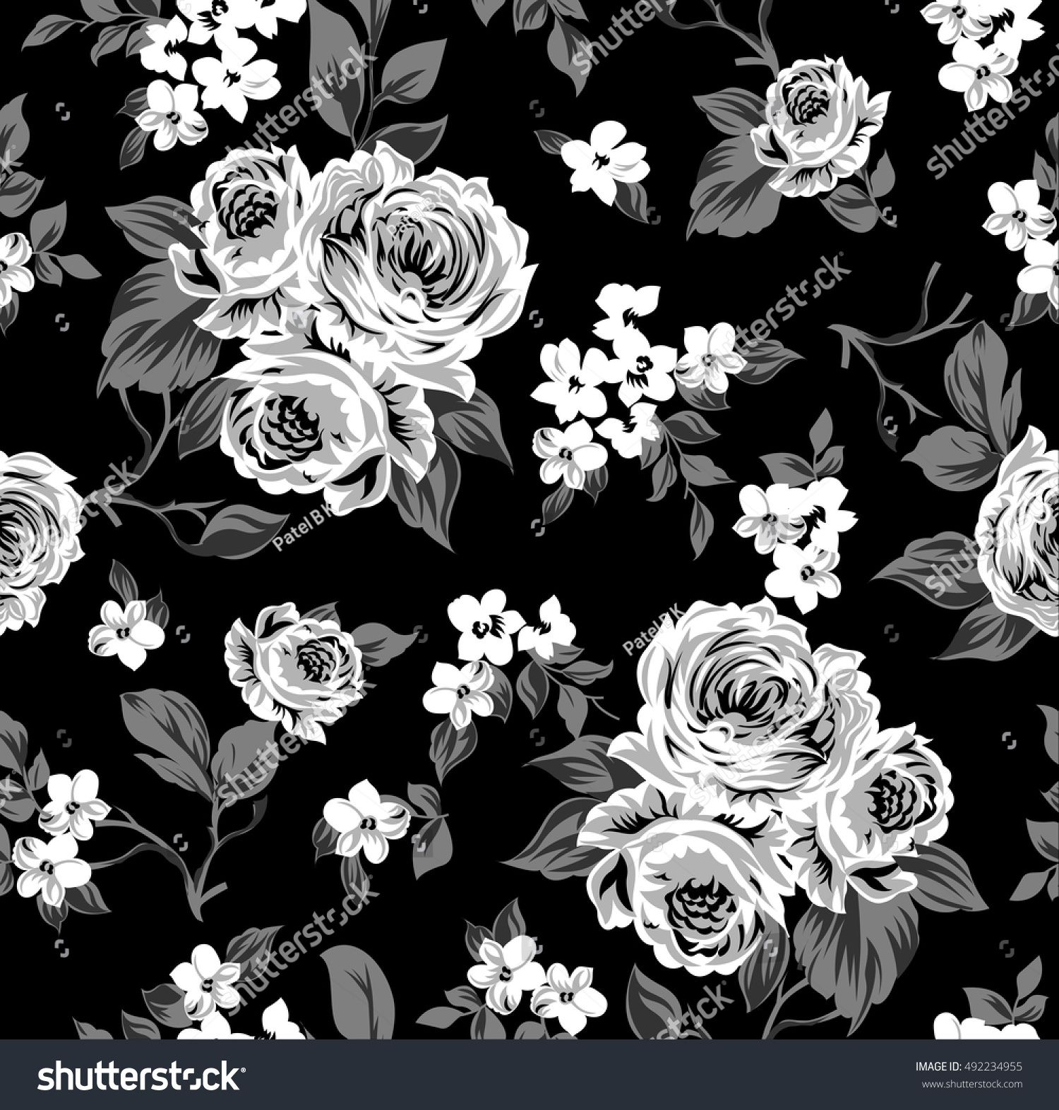 Seamless vector vintage pattern with Victorian bouquet of