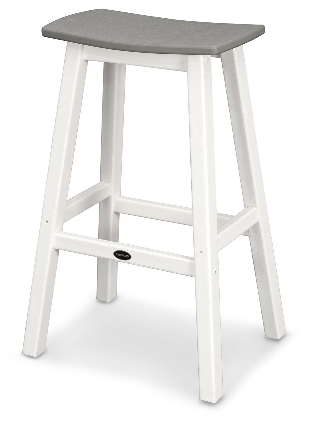 Polywood Emerson All Weather Bar Stool Set Of 2 White Gray