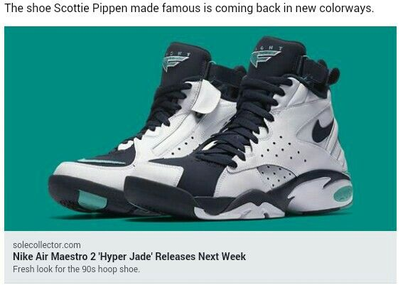new product 910d9 6a185 Nike Air Maestro 2 jade colorway Scottie Pippen
