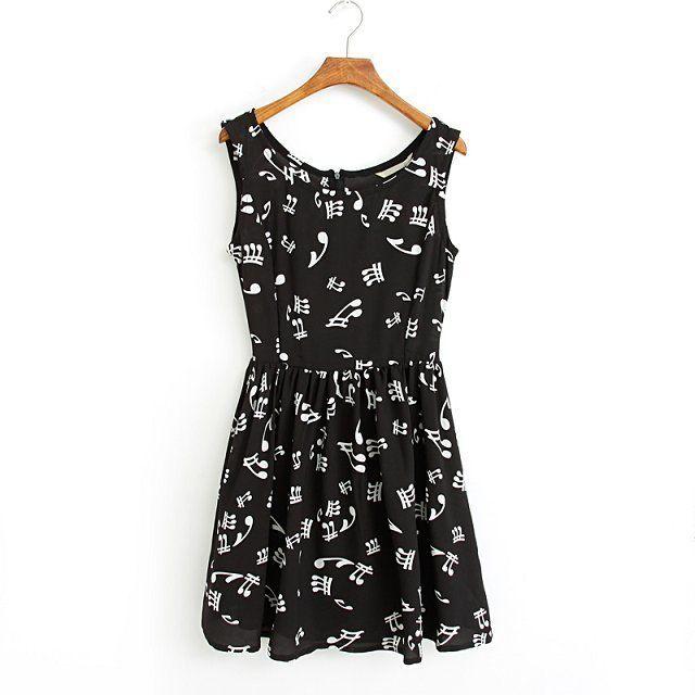 Black Musical Note Dress