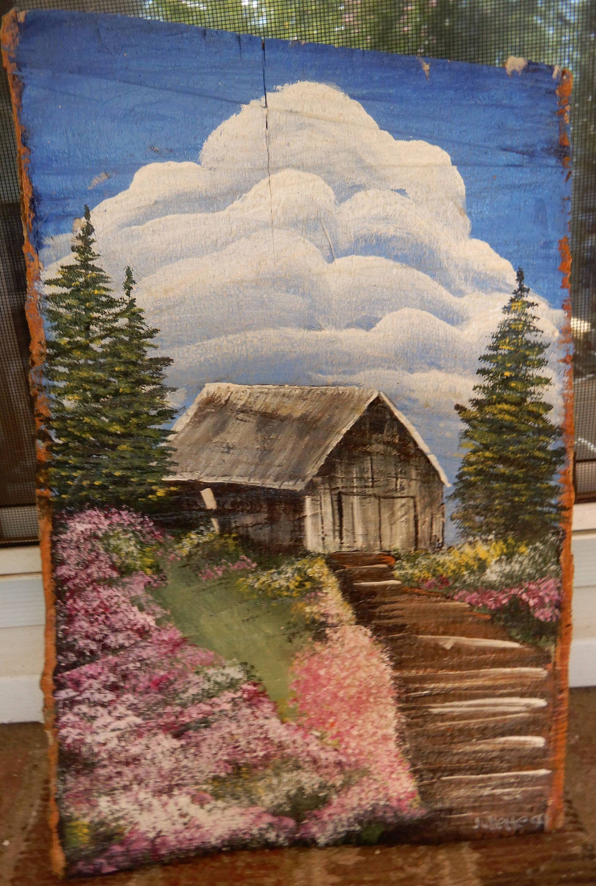 vintage primitive folk cabin barn pink flowers in Rustic Country Paintings id=37494
