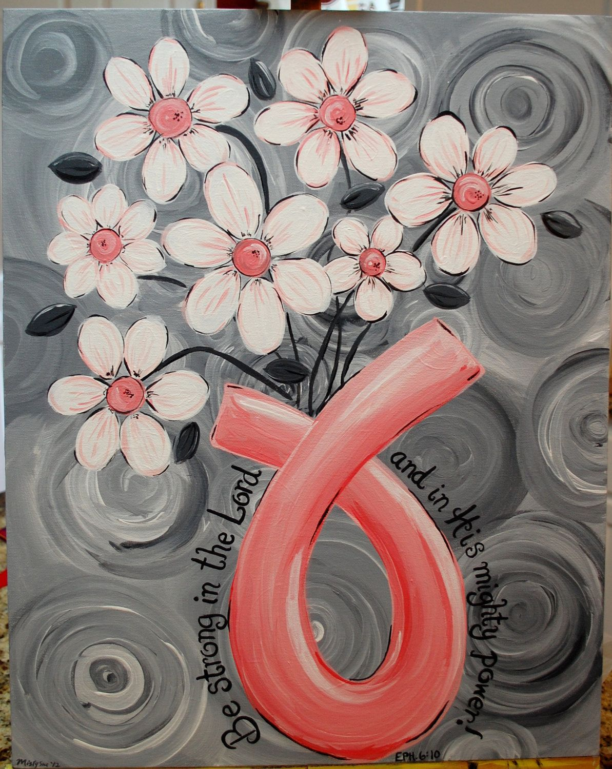 Love this breast cancer awareness ribbon survivor painting