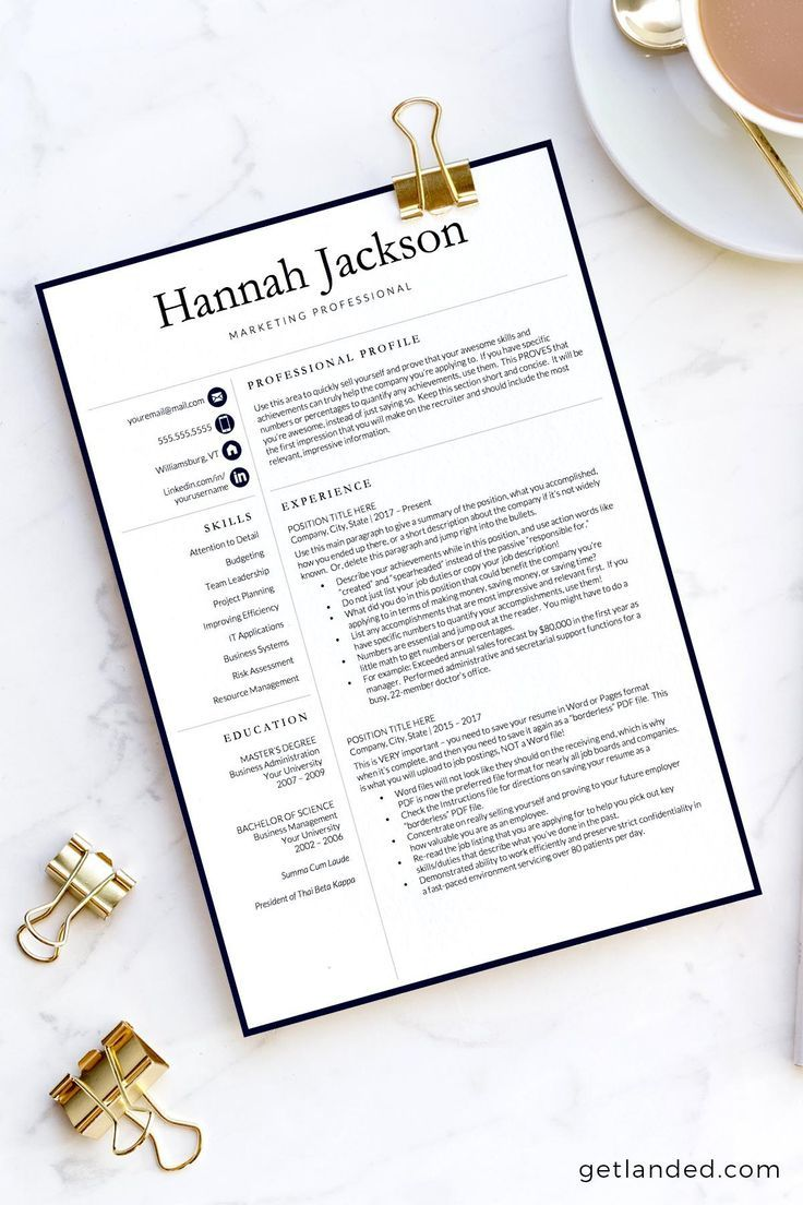 Accountant resume template for word and pages