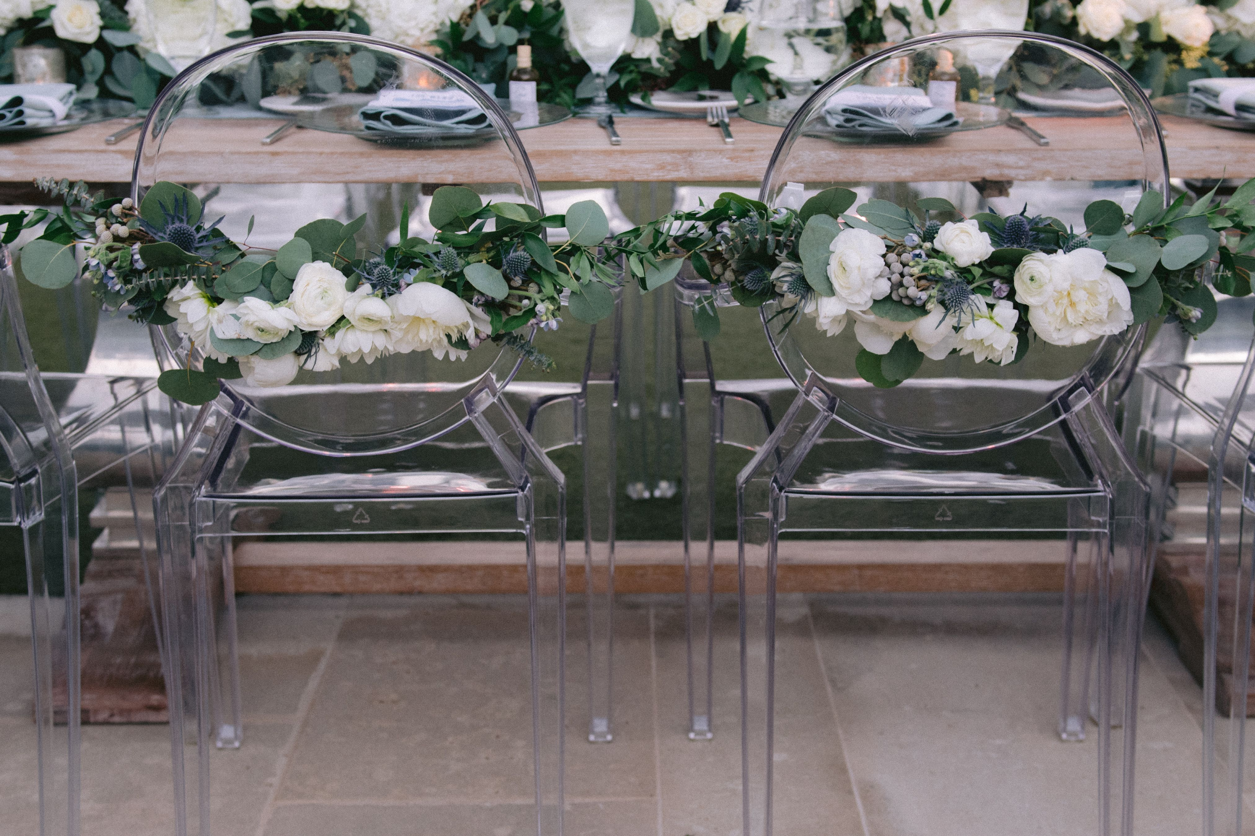 special couple chairs, white floral, white floral and