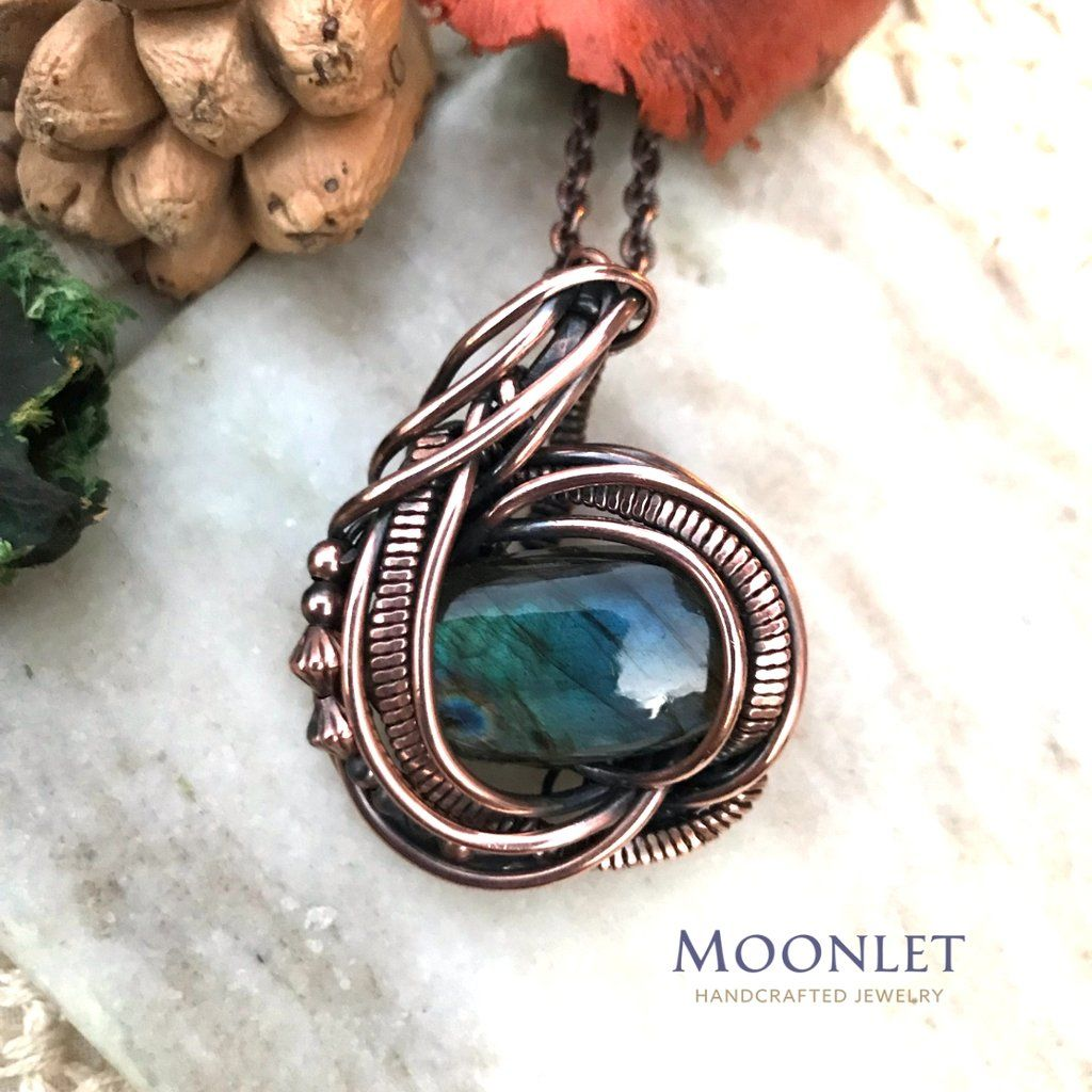 Labradorite beads antique copper pendant necklace wire wrap jewelry