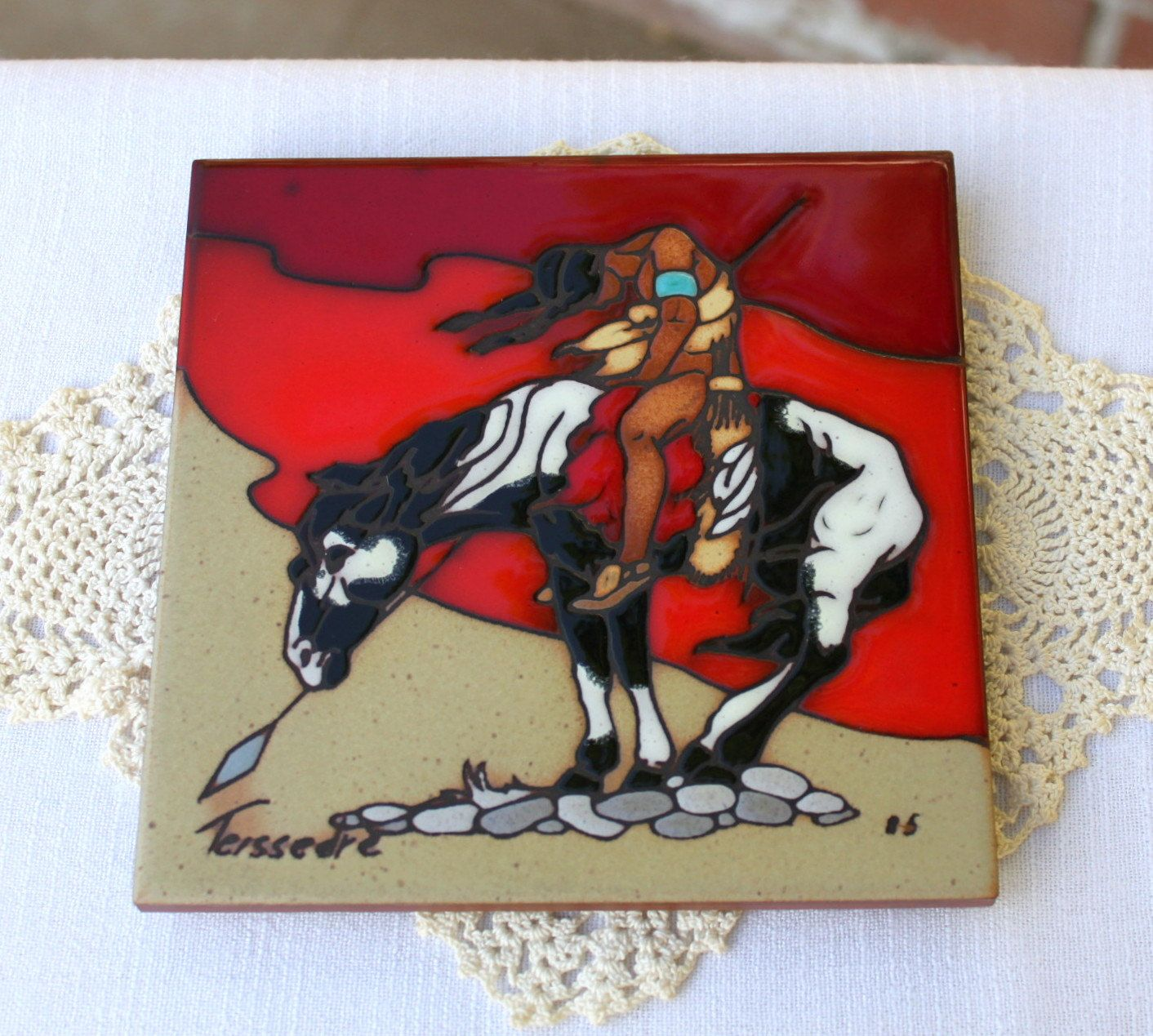 Vintage southwestern rustic decor native american navajo fine end of trail ceramic tile southwest native american horse hand painted tile trivet red wall decor dailygadgetfo Choice Image