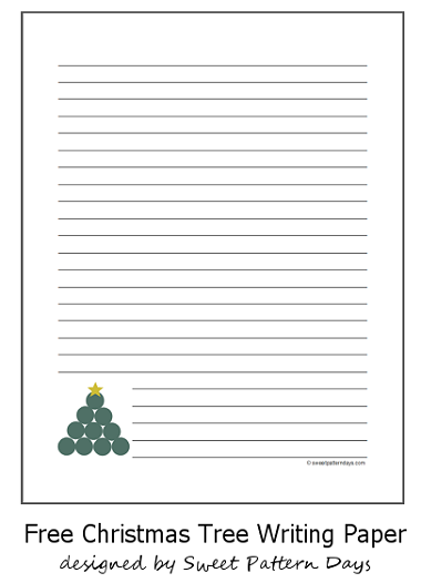 free christmas tree lined writing paper