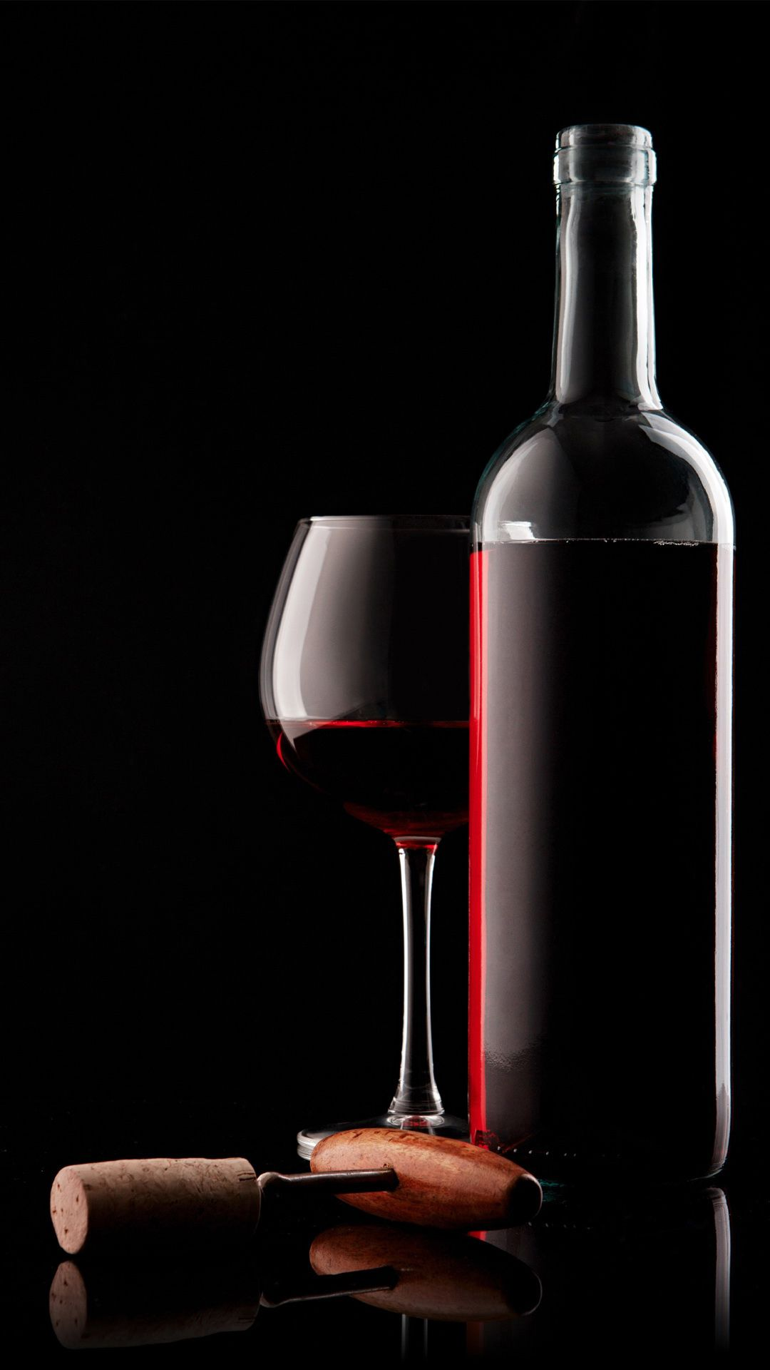 Red Wine Glass Bottle And Corkscrew Iphone 6 Wallpaper In