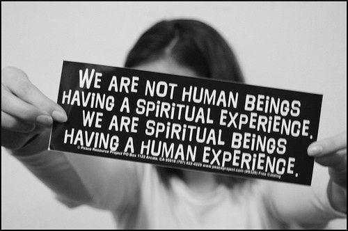 No somos seres humanos teniendo una experiencia espiritual. Somos seres espirituales teniendo una experiencia humana.