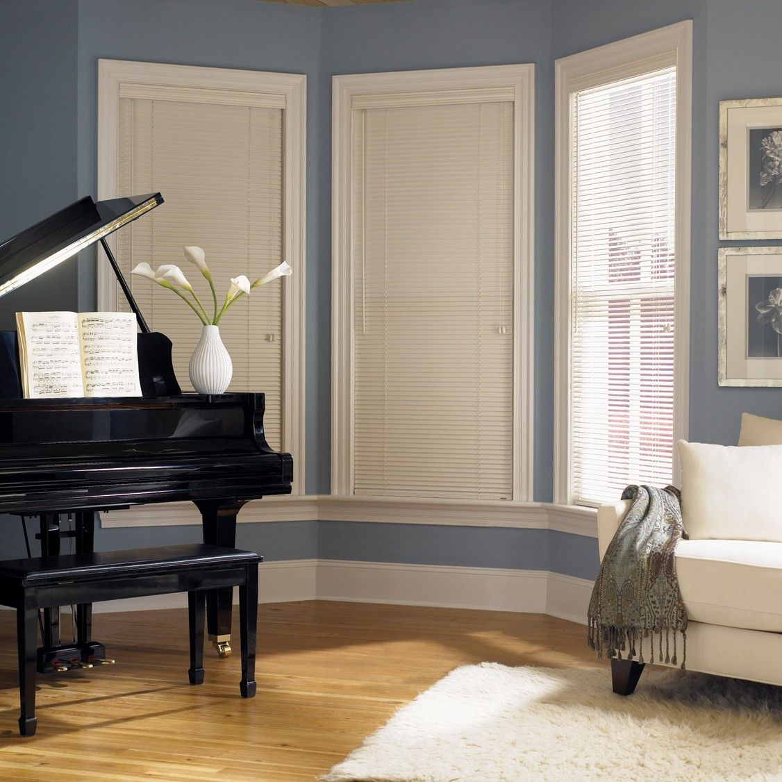 Blue Walls White Trim Wood Blinds