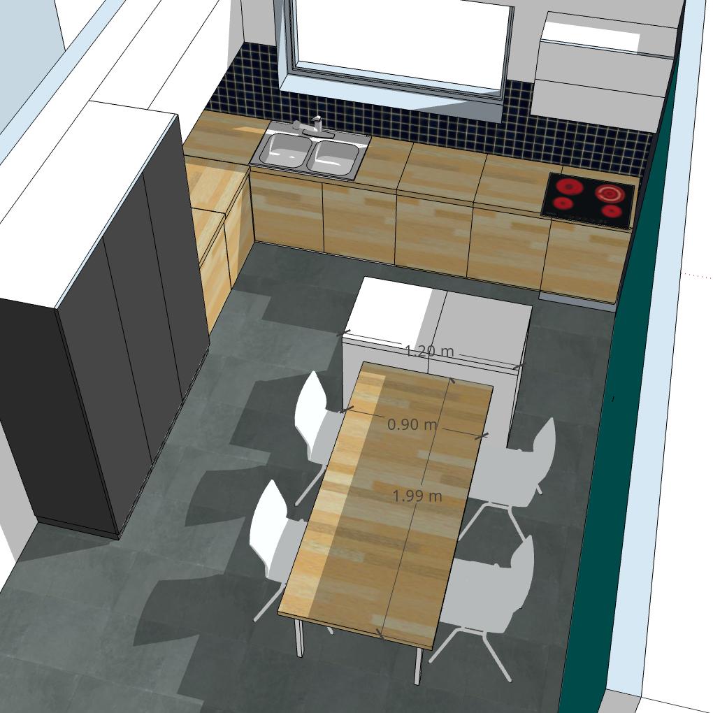 Ilot Avec Table: Îlot Central De Cuisine Avec Bar Et/ou Table