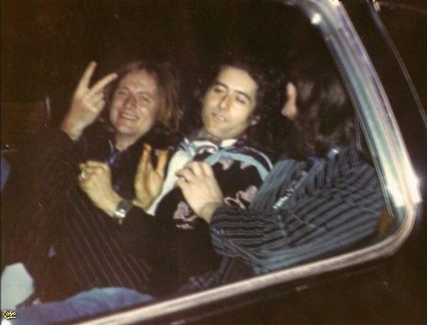 John Paul Jones and Jimmy Page of Led Zeppelin in the back