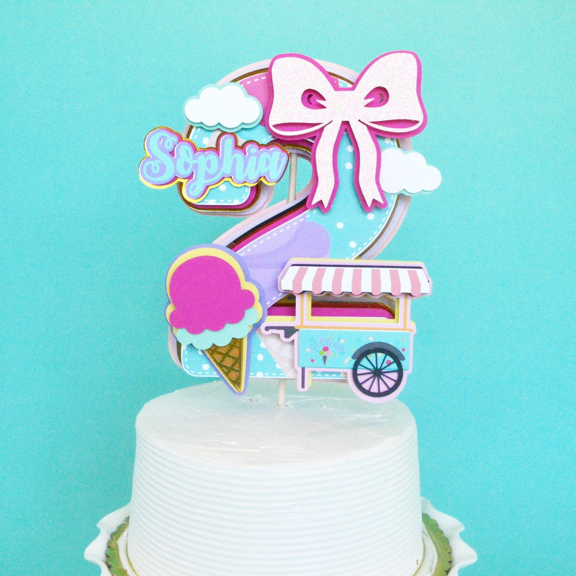 Second Birthday Cake Topper Ice Cream Cake Topper Ice Cream Party By Gabyrobbinsdesigns On Etsy Birthday Cake Toppers Second Birthday Cakes Cake