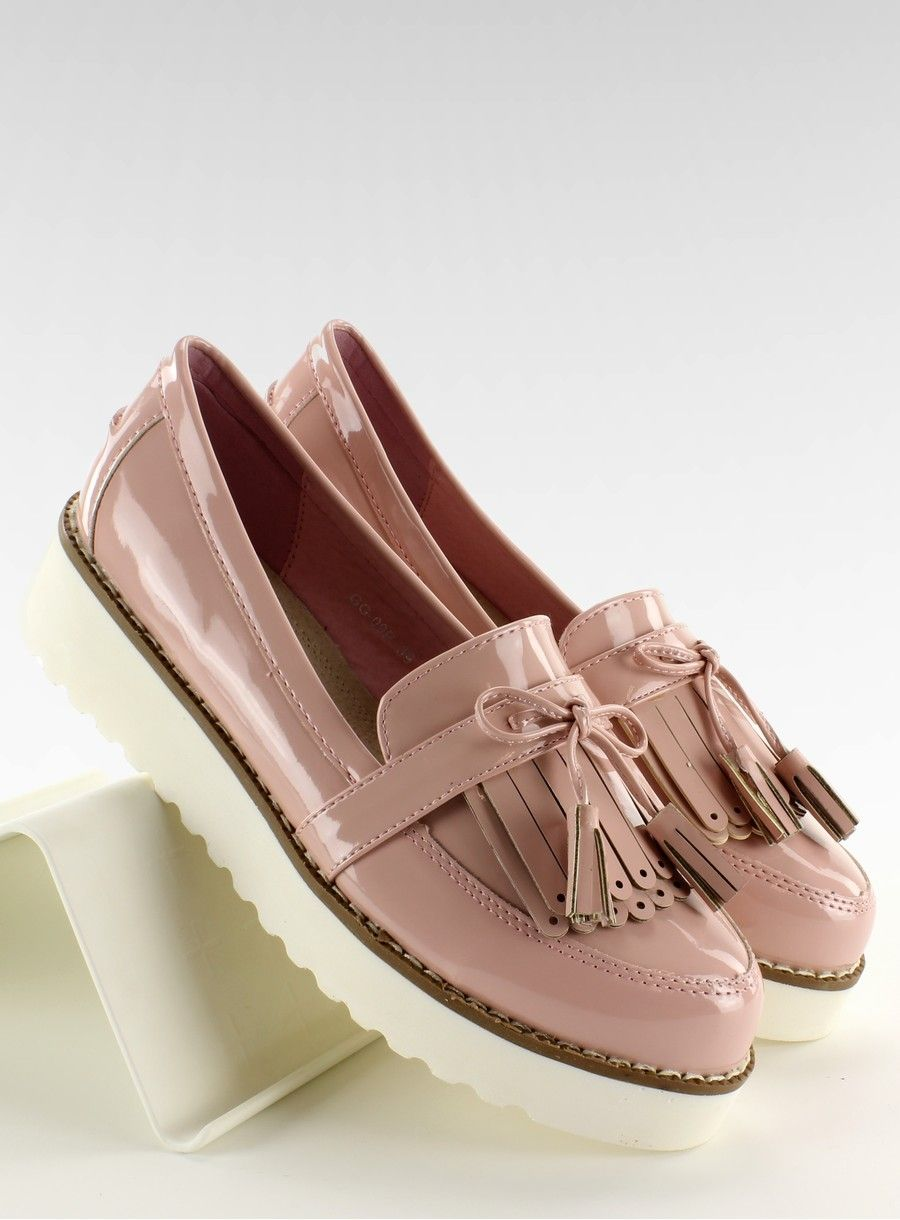 Mokasyny Na Grubej Podeszwie Creepers Gg 09p Rozowy Loafers Shoes Creepers